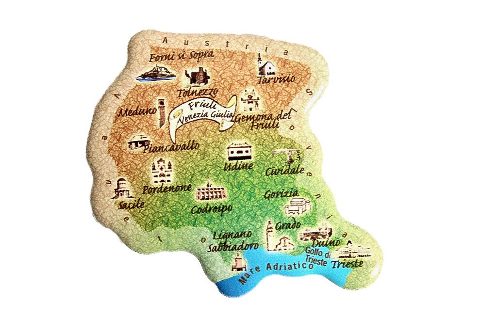 Regione Friuli Venezia Giulia Cartina.31 Articoli Souvenir Italia Calamita Regione Friuli Venezia Giulia